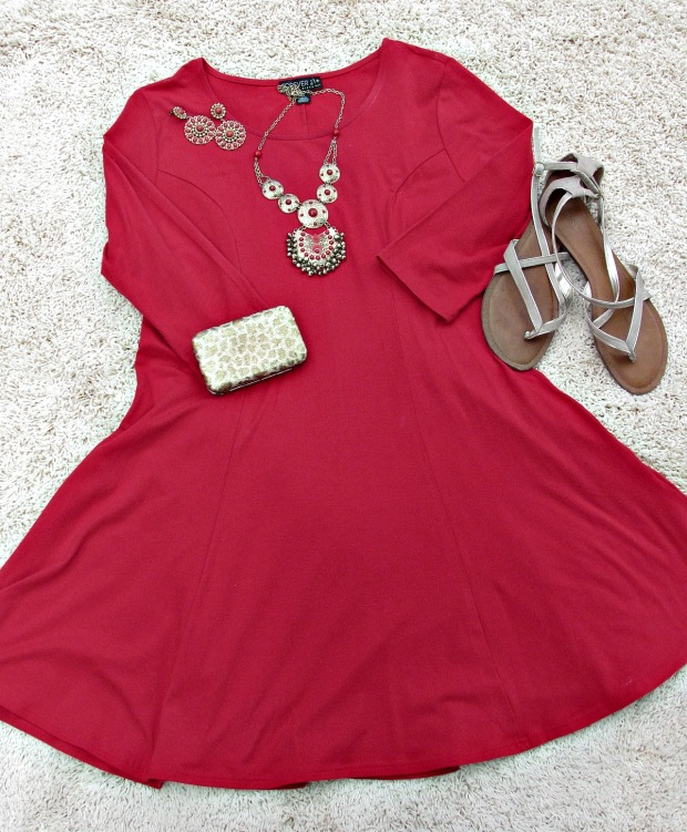 red fashion and finds red dress, jewelry, gold shoes