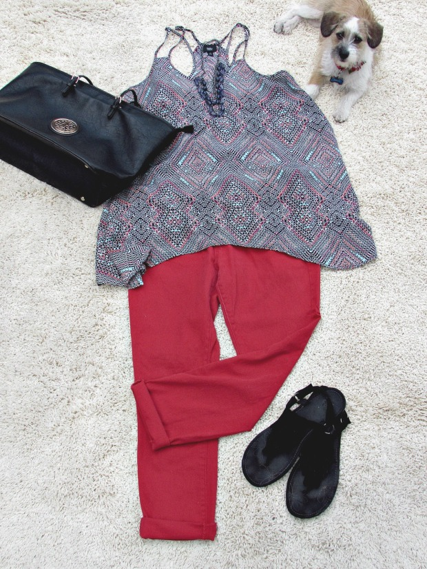 red fashions and finds red jeans, print top, black accessories