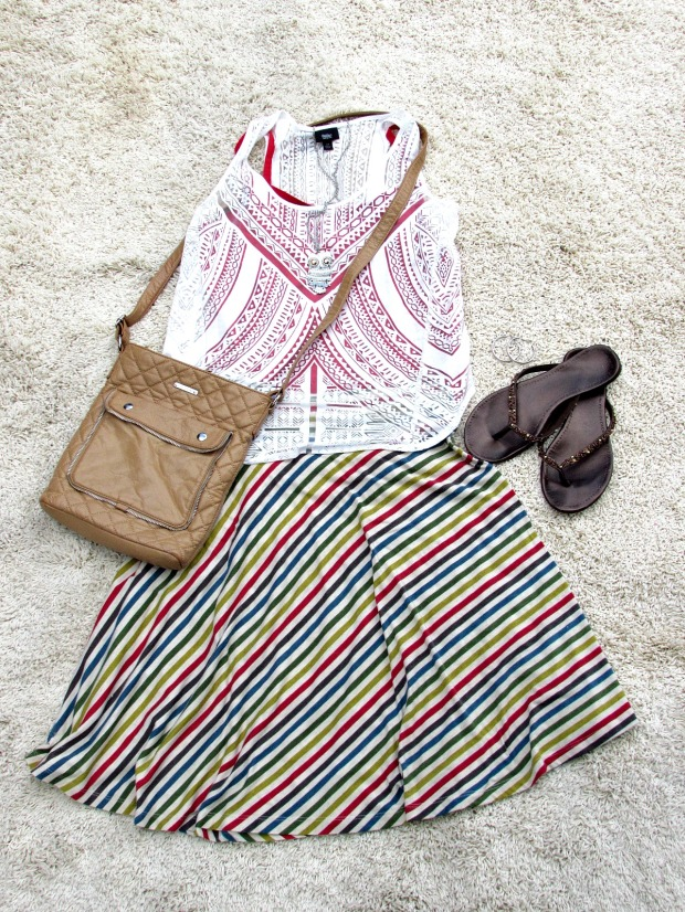 red fashions and finds red striped skirt, white top, red tank