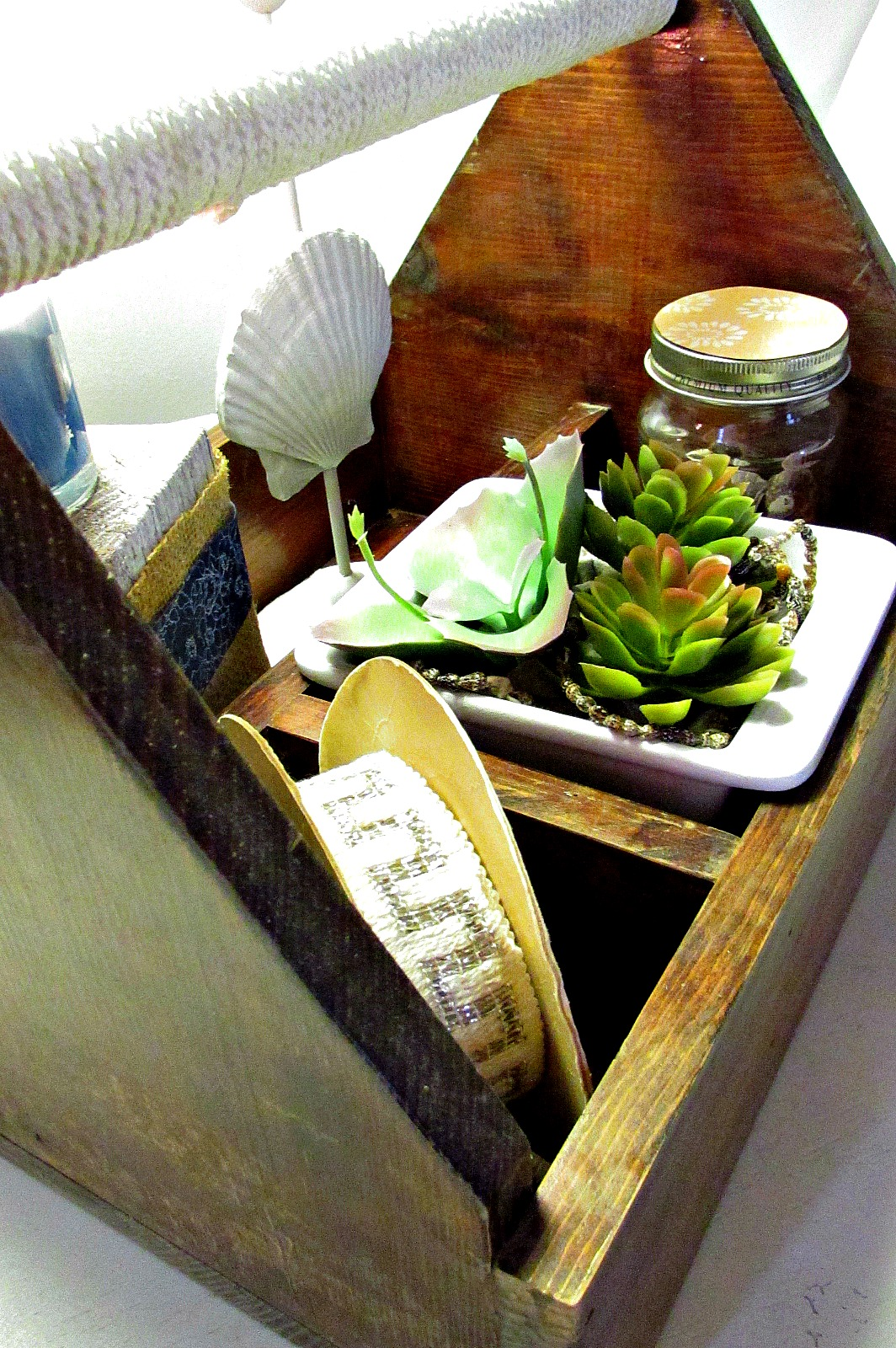 toolbox makeover spool, plants candles