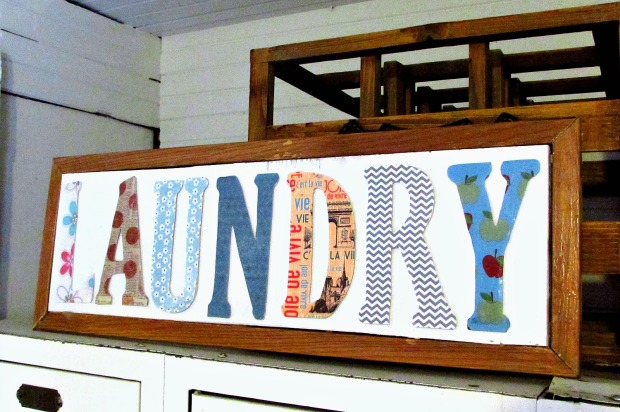 Laundry room chipboard letters