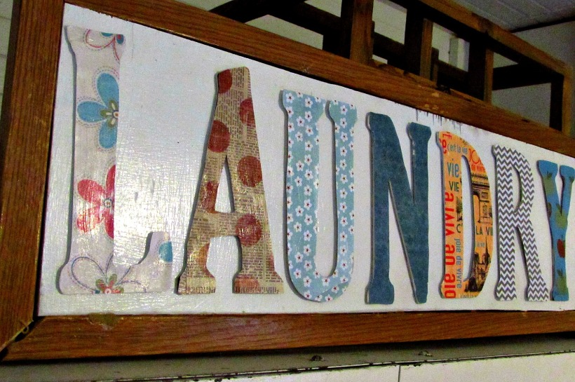 Laundry room makeover chipboard letters