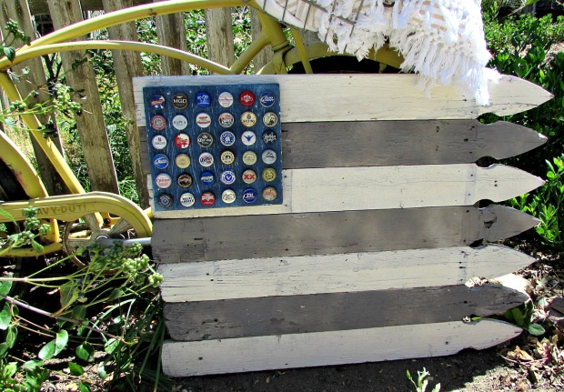 picket fence flag with bottle cap stars