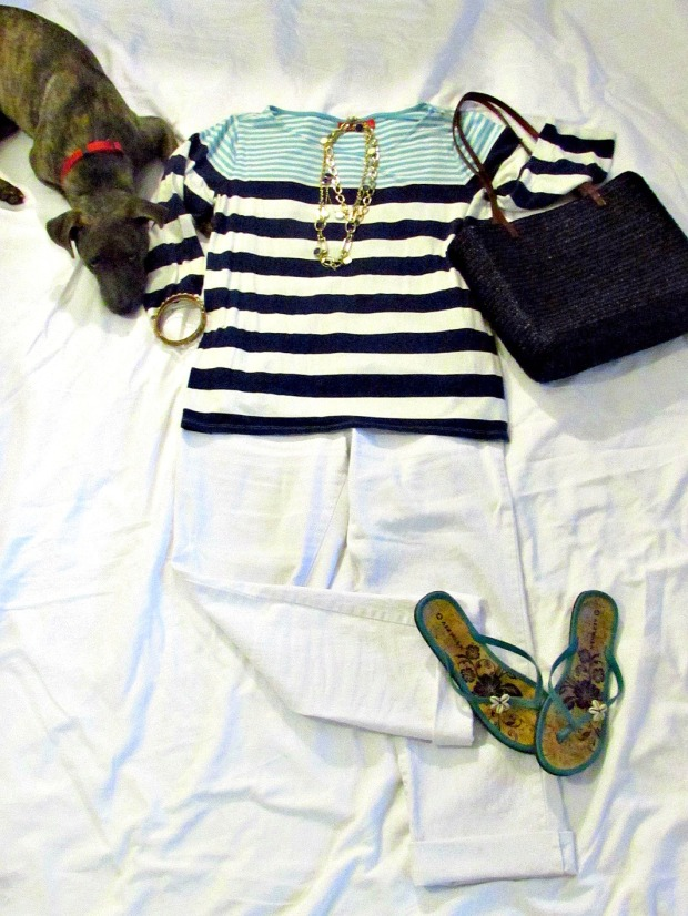 Turquoise fashions blue, white top and white jeans