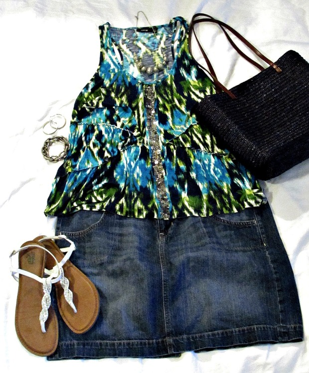 turquoise fashions, denim skirt print top