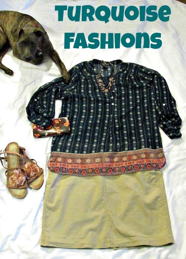 Turquoise fashions sheer top, khaki skirt title