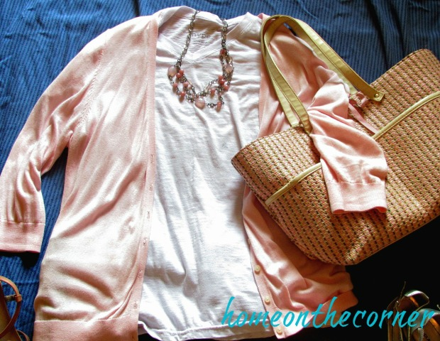 finds and fashions pink sweater with white tee