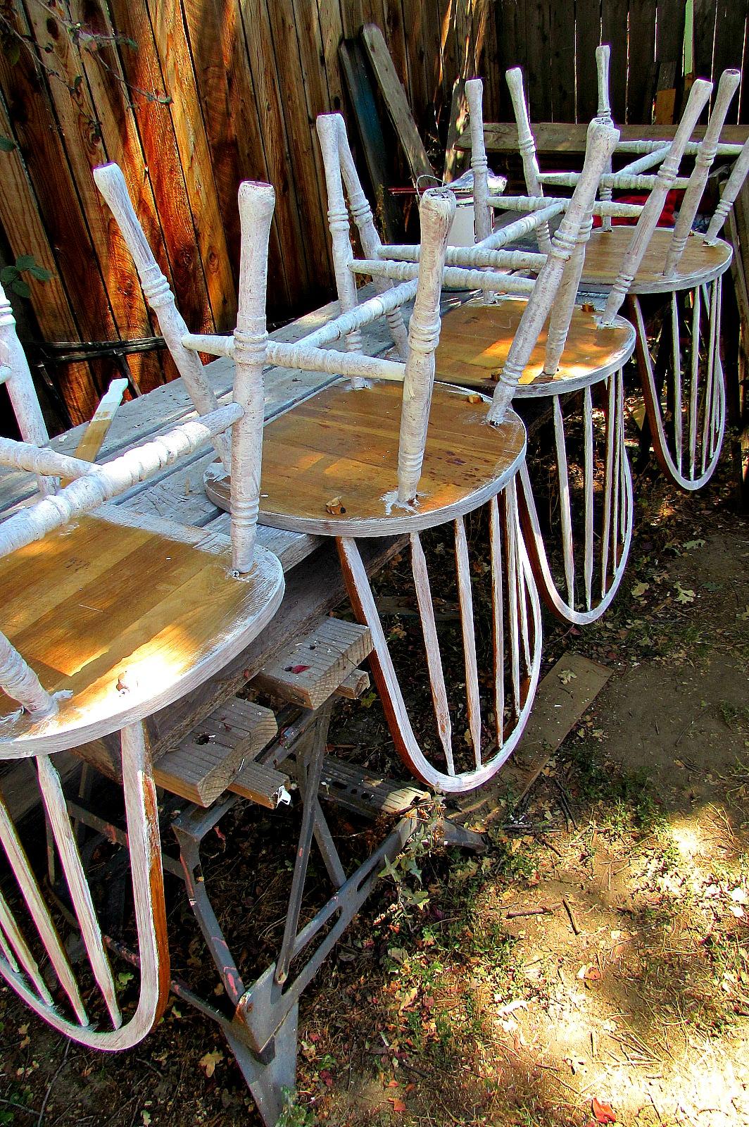 kitchen chair makeover paint underside
