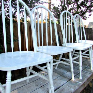 kitchen chair makeover painted cloud white