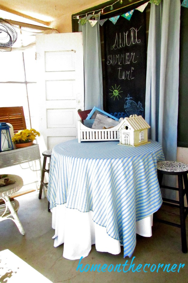 summer patio 2016 table and chalkboard