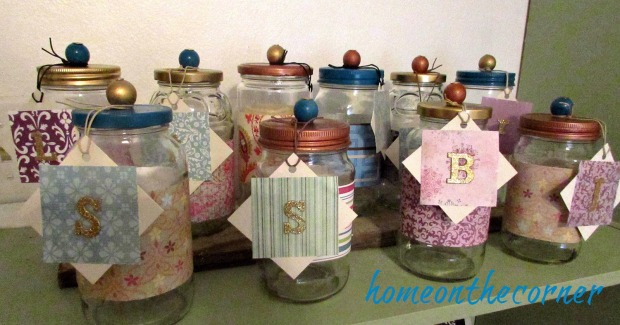christmas jars in a row