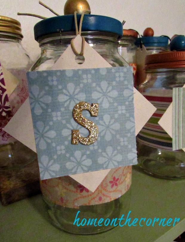christmas jars 's' tag