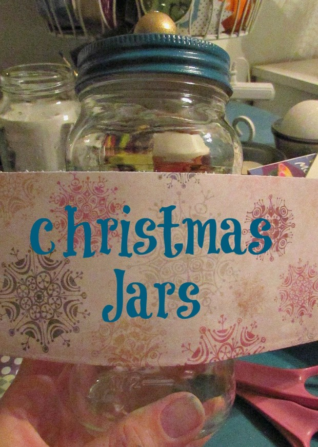 christmas jars scrapbook paper around jar title