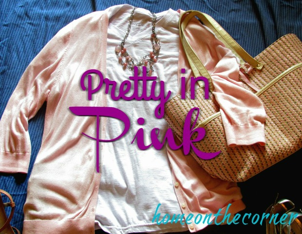 finds and fashions pink sweater with white tee pretty in pink