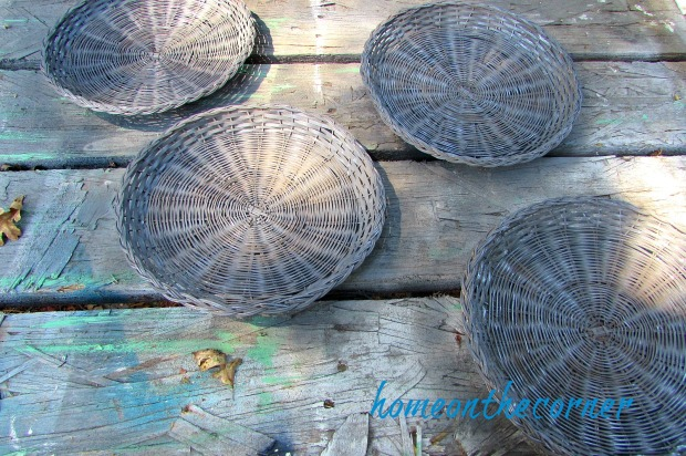 rattan plate holders spray painted grey