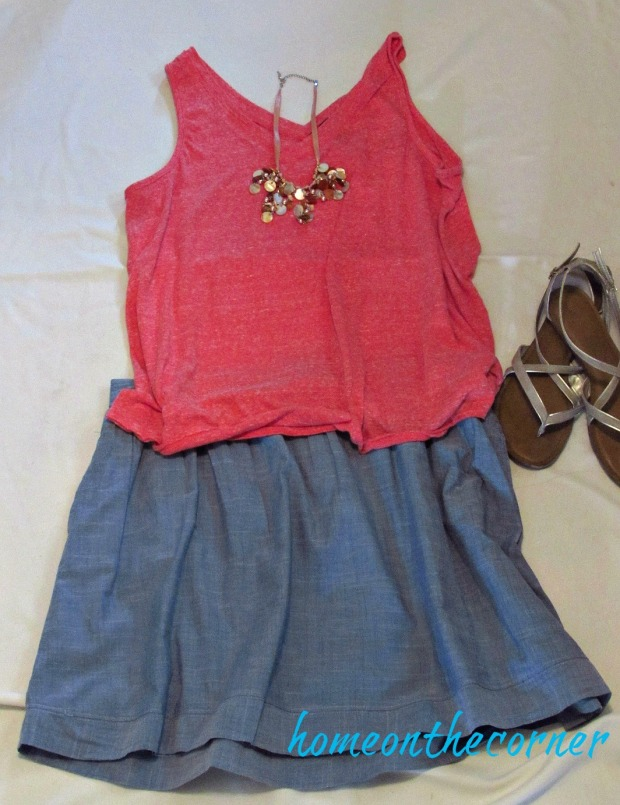 finds and fashions orange top and chambray skirt
