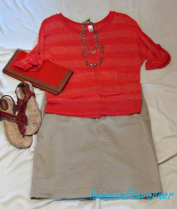 finds and fashions orange top and khaki skirt