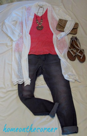 finds and fashions orange top grey jeans white duster
