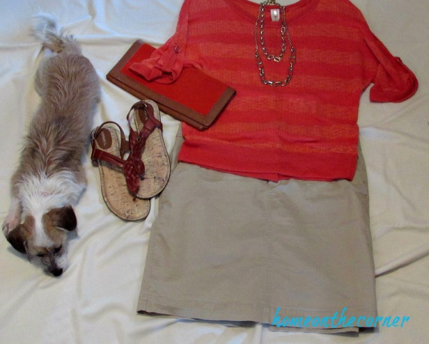 finds and fashions orange top khaki skirt and zoe