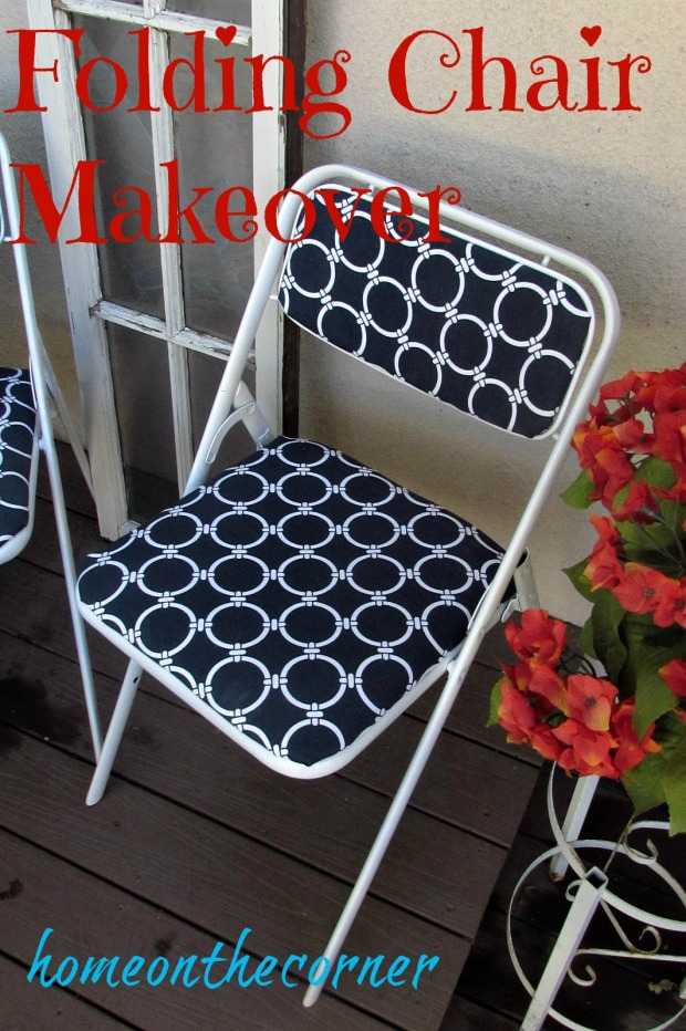 folding chair makeover blue and white completed chair Title