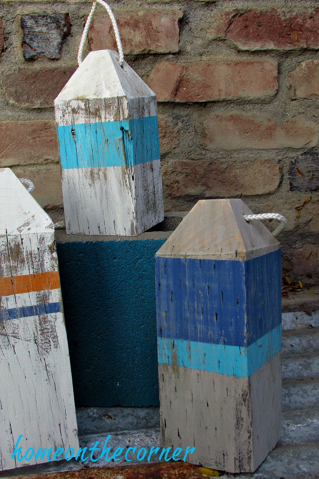 ocean buoys wooden blue and turquoise