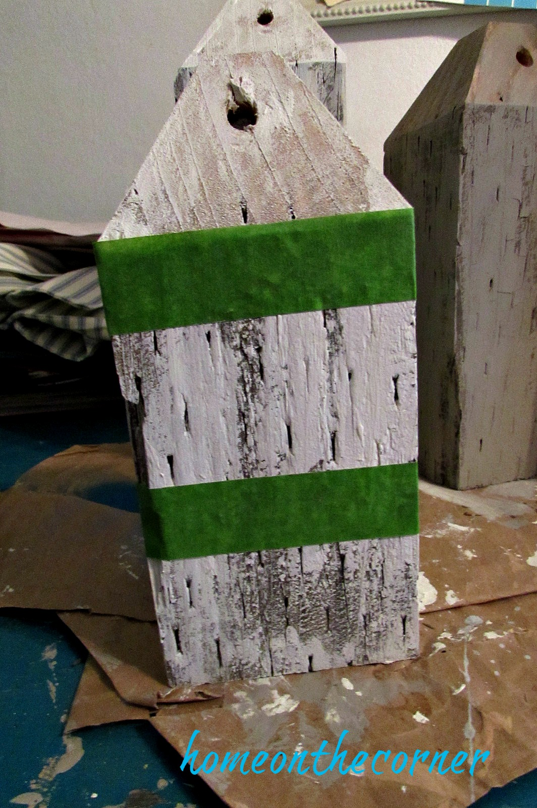 ocean wooden buoy painting stripes