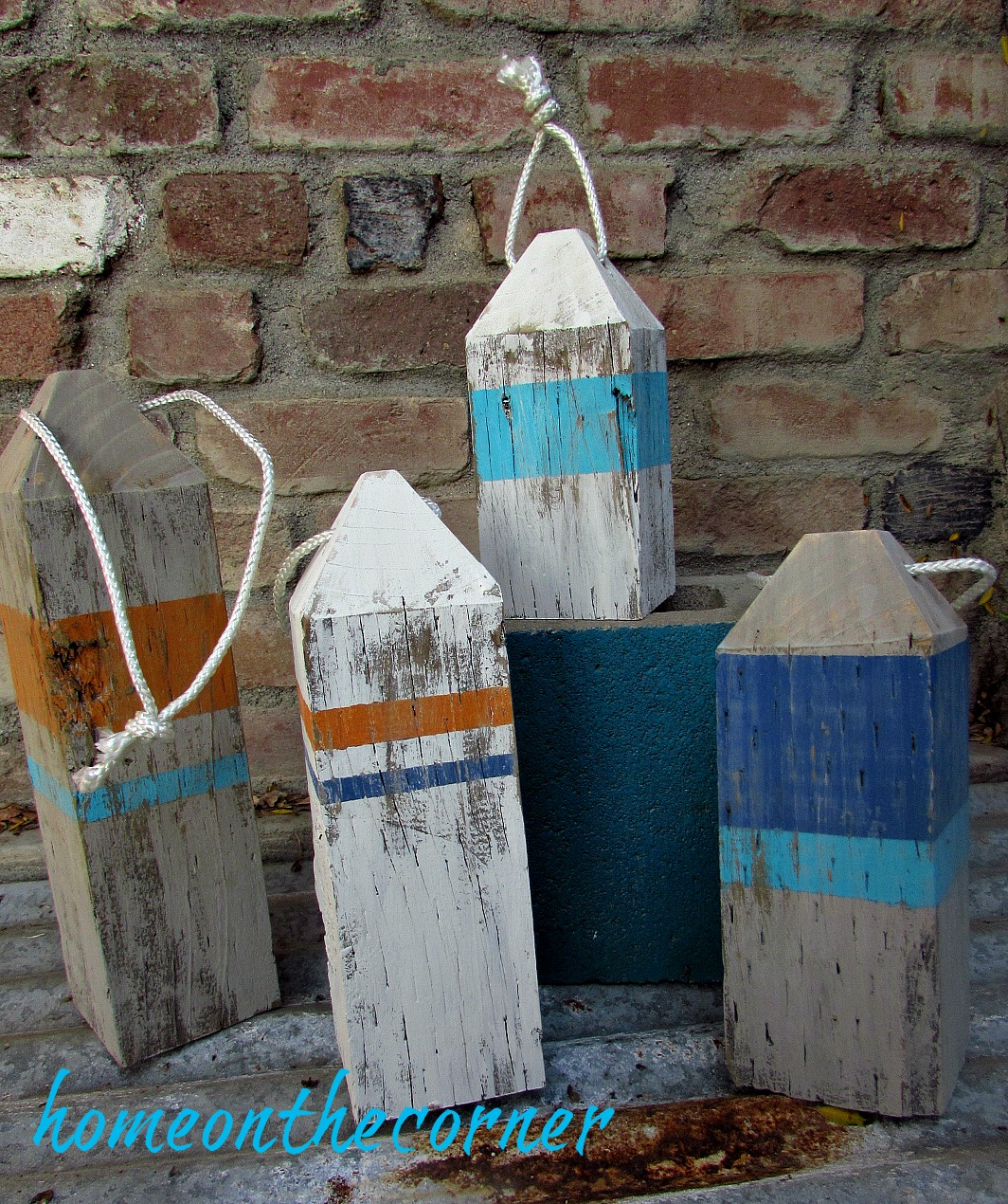 ocean wooden striped painted buoys