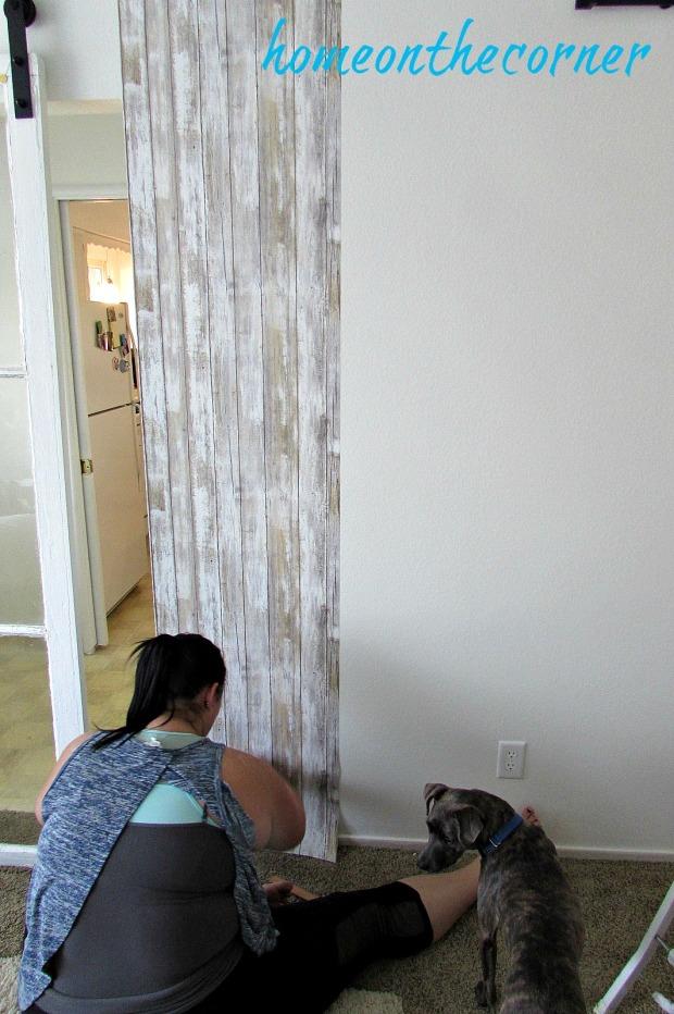 barn wood wallpaper application