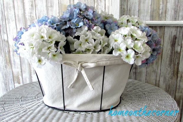barn wood wallpaper hydrangeas in basket