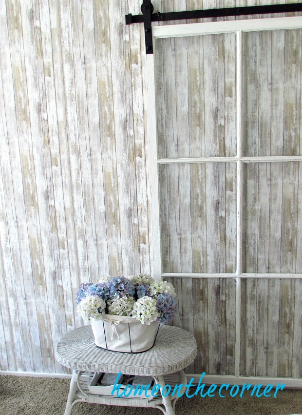 barnwood removable wallpaper with barn door