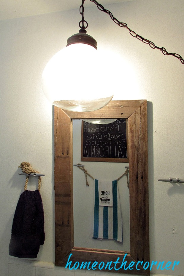 hallway bathroom makeover globe light rustic mirror