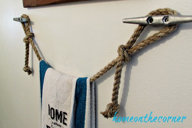 hallway bathroom makeover rope towel bar nautical