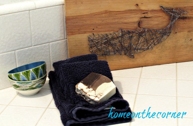hallway bathroom makeover whale string art blue and turquoise