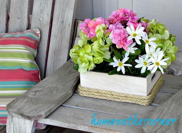 wooden flower box hydrangeas, daisies