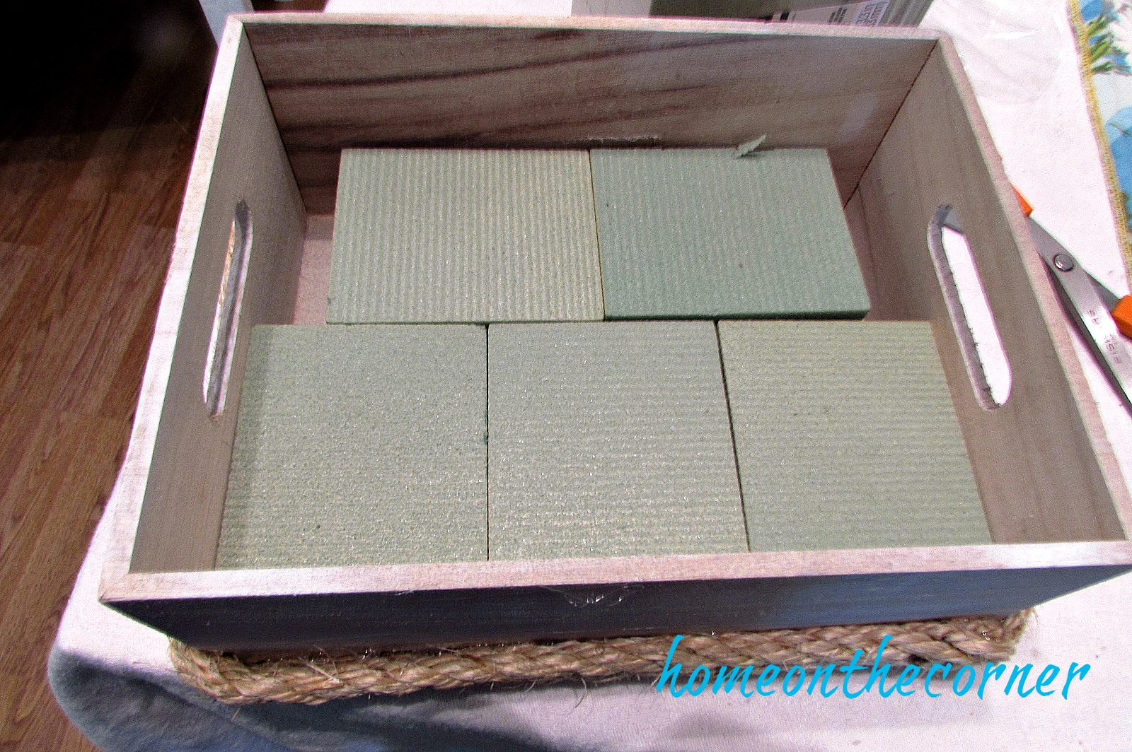 wooden flower box styrofoam