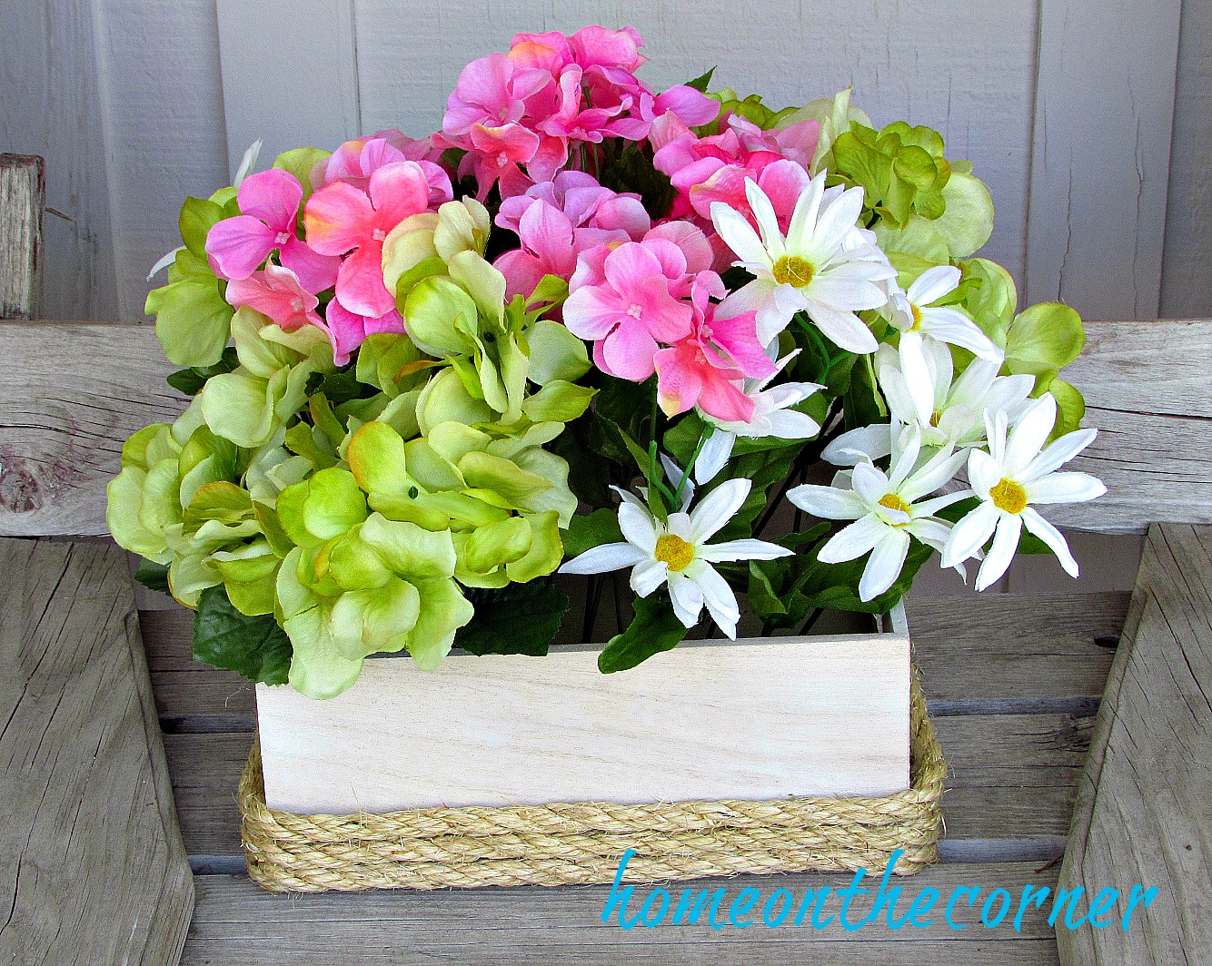 wooden flower box with jute rope