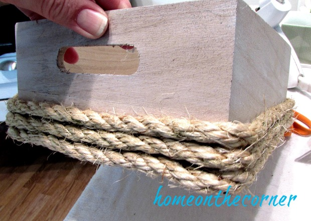 wooden flower box with rope