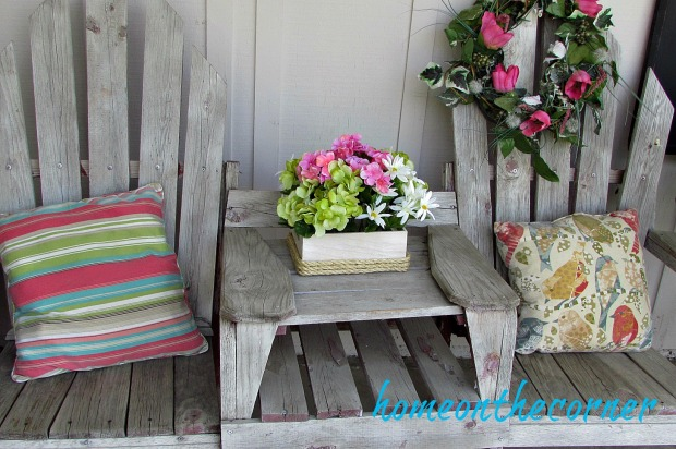 wooden flower rope box patio bench