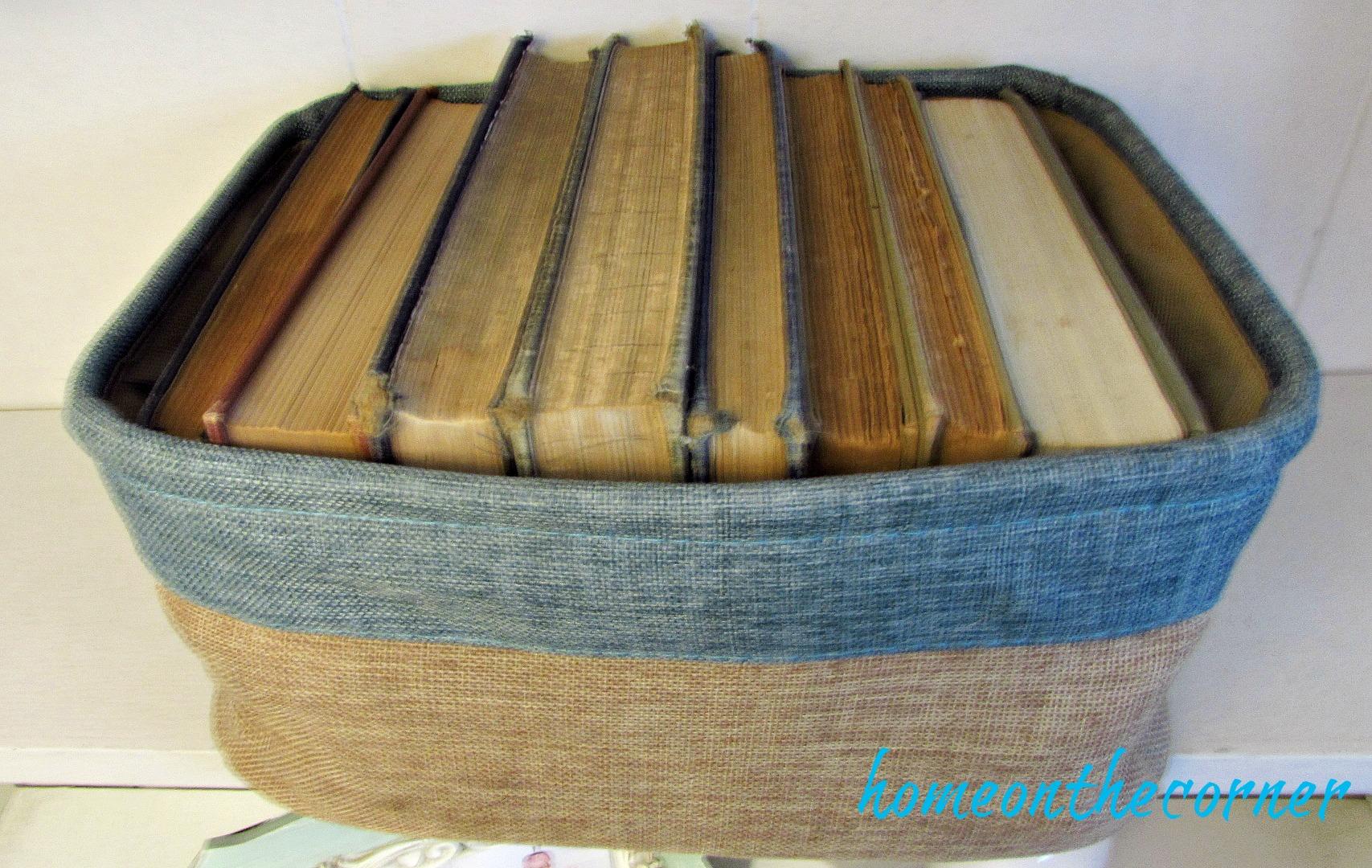 family room shelves, basket of old books