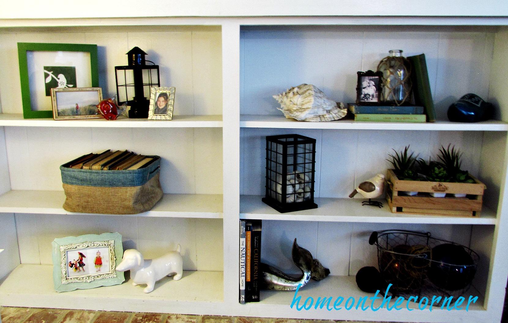 family room styled shelves coastal