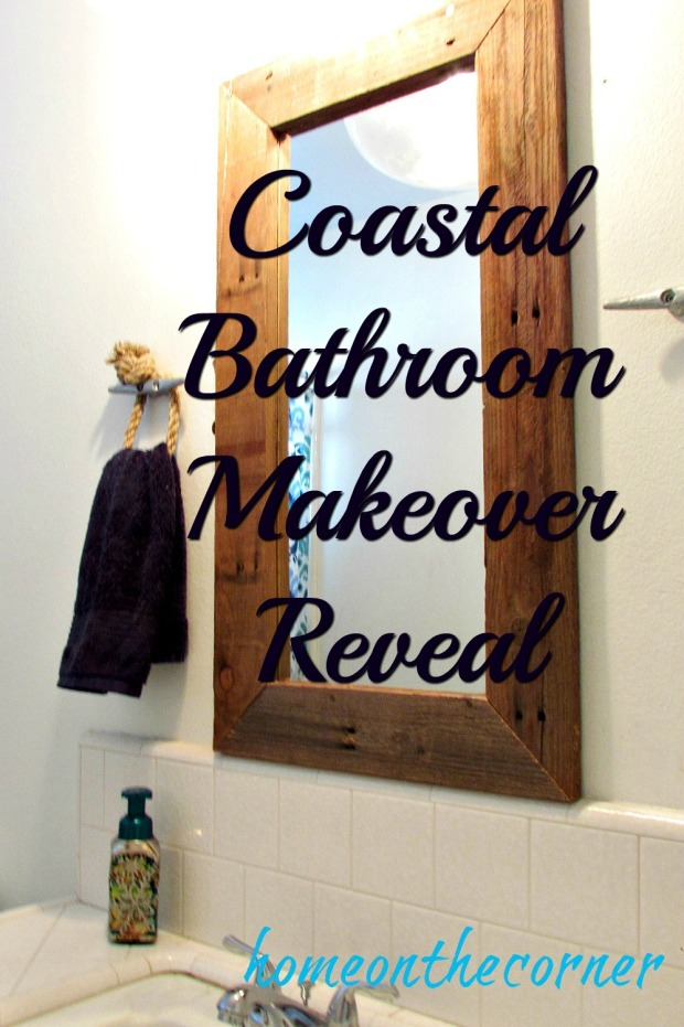 hallway bathroom makeover wood pallet mirror title