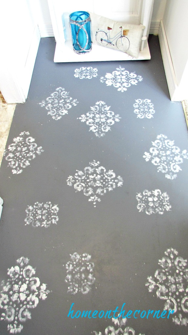 painted entryway stenciled floor