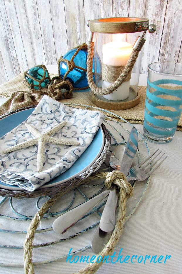 tablescape 2017 nautical turquoise, blue and grey