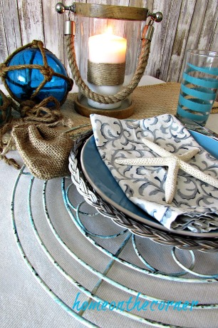 tablescape 2017 nautical turquoise, burlap, glass floats, candle