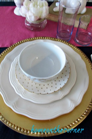 tablescapes 2017 gold and pink and blue