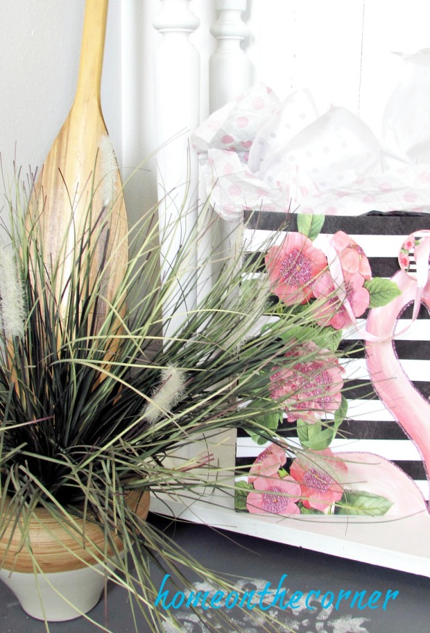 pink flamingo bag plant oar