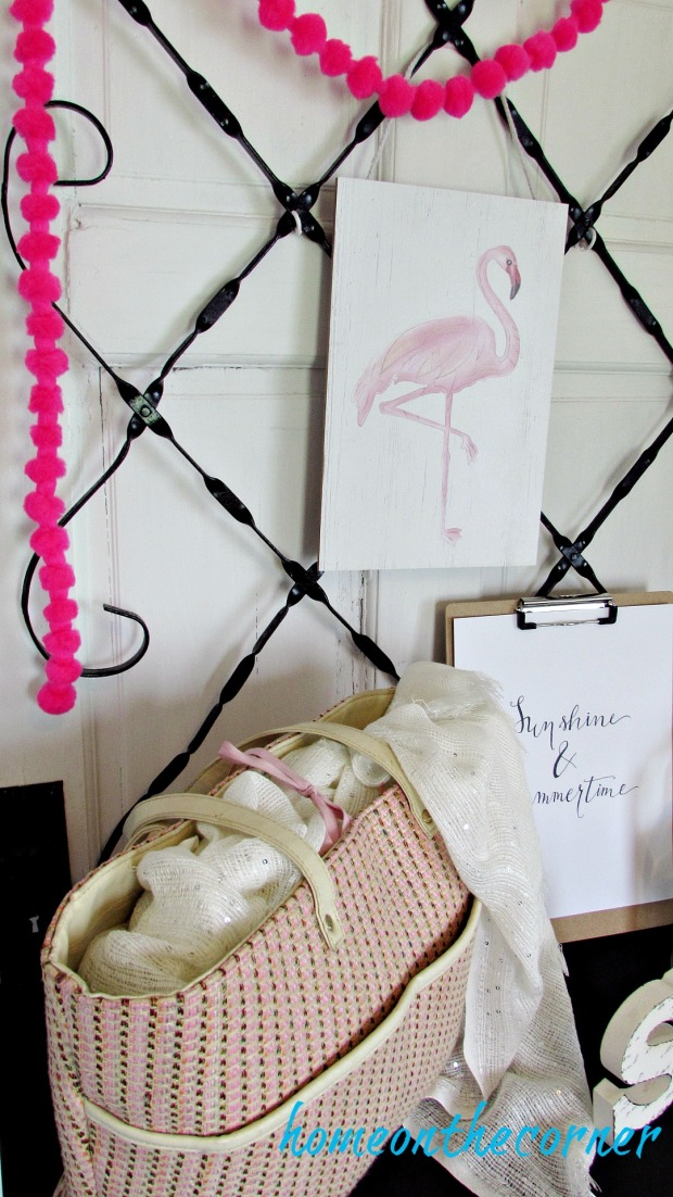 pink flamingo bag printable, pink puff garland