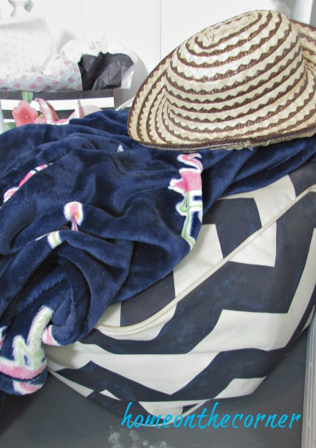 pink flamingo, blue blanket, hat