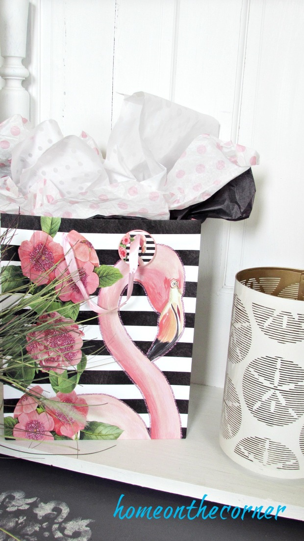 Pink flamingo gift bag and seashell candle
