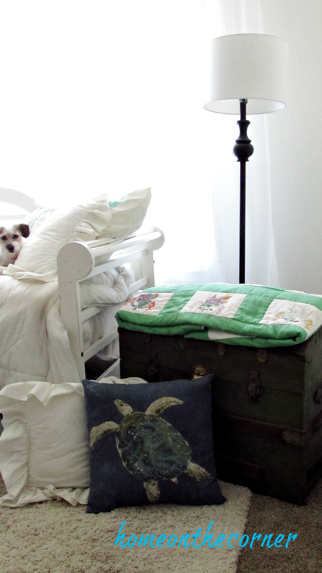 great grandma trunk with pillows